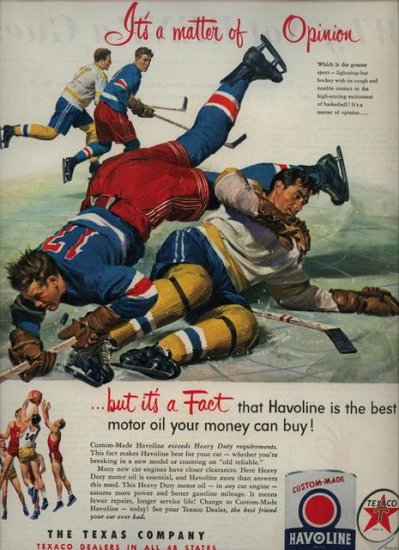 Vintage 1952 Hockey Havoline Oil and Texaco Gas AD