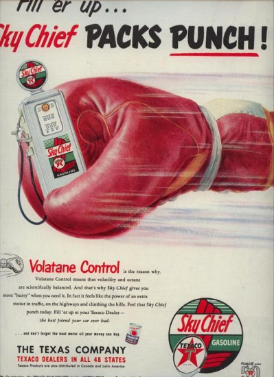 Original Vintage 1952 Sky Chief Texaco Gas Boxing Glove AD