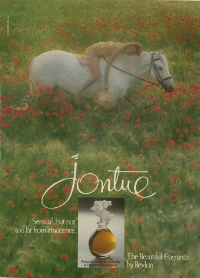 1983 Jontue Revlon Perfume White Horse in a field of Poppies  AD