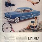 Vintage 1953 blue Ford Lincoln Car AD