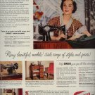 vintage 1950 Singer Budget Portable Sewing Machine AD