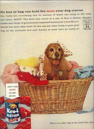 Vintage 1961 Cocker Spaniel Ken L Ration Dog Food AD
