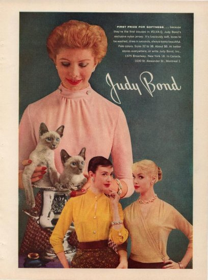 Vintage 1956 Siamese Cats Judy Bond Blouse AD