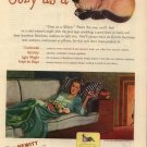 Vintage 1946 cozy as a Siamese Kitten Hewitt Restform Rubber AD