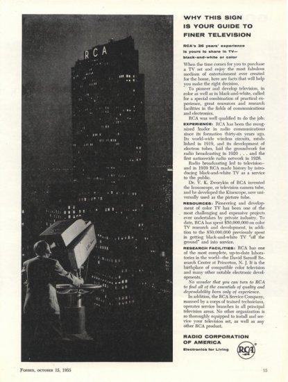 Vintage 1955 RCA building Radio Corp of America Building AD