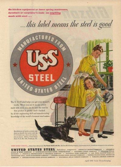 Vintage 1946 United States Steel Scottish Terrier AD