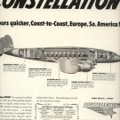 Vintage 1946 Lockheed Constellation Passenger Airplane AD