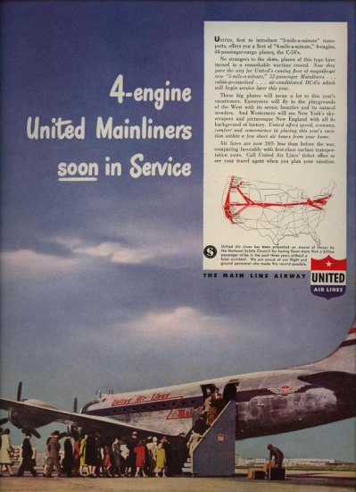 Vintage 1946 United 4 engine Mainliners Small Map Airplane Aviation AD