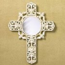 ANTIQUE IVORY CROSS MIRROR