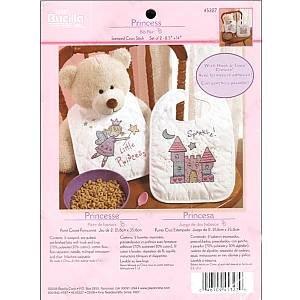 Bucilla Stamped Cross Stitch Kit ~ Pair of Princess Bibs ~ 8 1/2 inch x 14 inch
