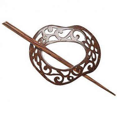 "Paradise Exotic Shawl Pin, Scrolled Freeform Coconut with wood stick, 3"" x 2 1/2"" by Buttons, etc."