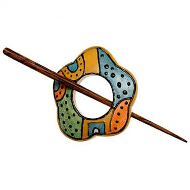 "Paradise Exotic Shawl Pin, Painted Wood with wood stick, 2 1/2"" x 2 1/4"", SP42005 by Buttons, etc."