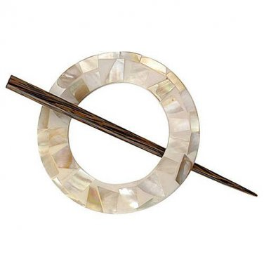 "Paradise Exotic Shawl Pin, Round Mother of Pearl with wood stick, 3"", SP30702 by Buttons, etc."