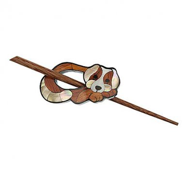 """Paradise Exotic Shawl Pin, Inlaid Shell/Wood Dog with wood stick, 2 1/2""""x 1 1/4"""", by Buttons, etc."""