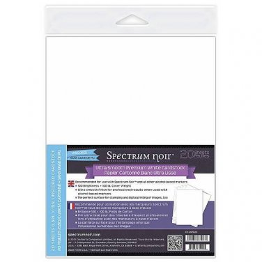 Spectrum Noir Ultra Smooth Premium White Cardstock 8.5 x 11 Inches, 20 Sheets, 100lb, 100 Brightness