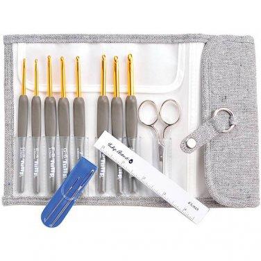 Tulip ETIMO 8 Aluminum Cushion Grip Crochet Hooks Gift Set with Case, Scissors + 2 Yarn Needles