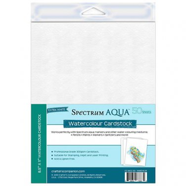 "Crafter's Companion Watercolor Cardstock, 50 pack, 8 1/2"" x 11"", Spectrum Aqua + Water-based mediums"