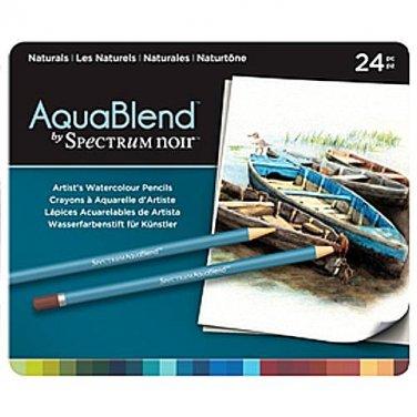 Spectrum Noir AquaBlend Watercolor Pencils, 'Naturals' set of 24 Premium, Artist Quality Pencils