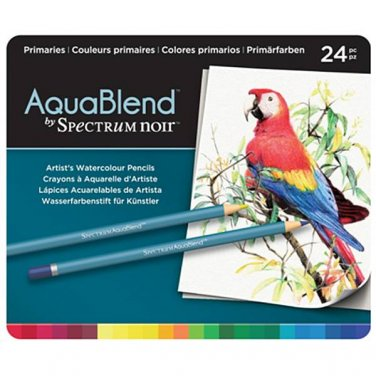Spectrum Noir AquaBlend Watercolor Pencils, 'Primaries' set of 24 Premium, Artist Quality Pencils