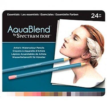 Spectrum Noir AquaBlend Watercolor Pencils, 'Essentials' set of 24 Premium, Artist Quality Pencils
