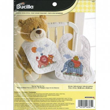 Bucilla - Stamped Cross Stitch Bibs Kit - Two By Two Bib Pair, Lions and Elephant
