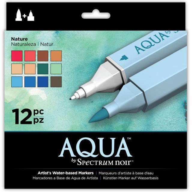 "Spectrum Aqua Water Based, Dual-Tipped, Artist Markers, ""Nature"" 12 Marker Set, Watercoloring"