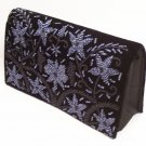 Black purse with purple flowers pattern