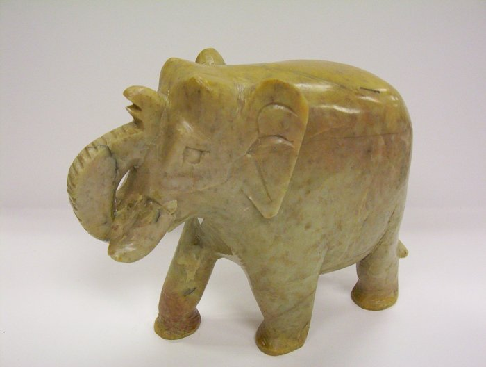 "Large 6"" Stone Solid Elephant"