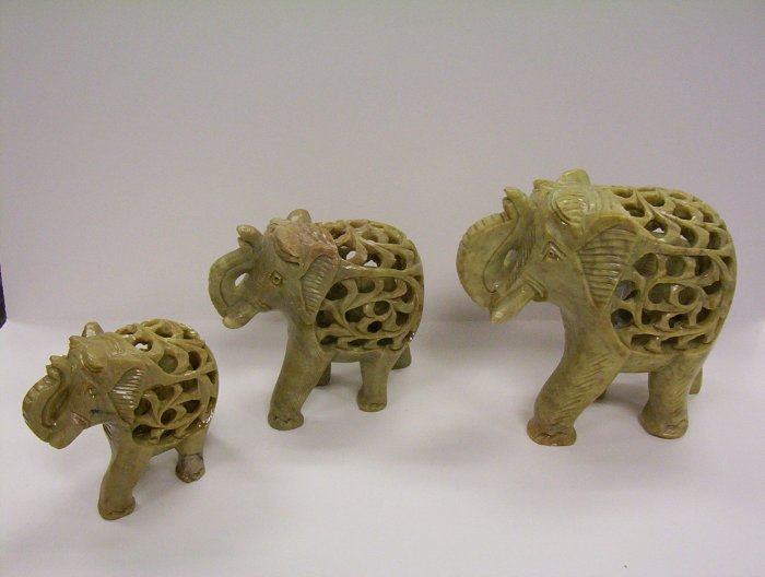 """Large 6"""" Stone Carved Elephant with baby"""