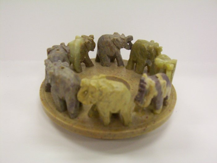 "4"" Stone Elephant Candle Holder"