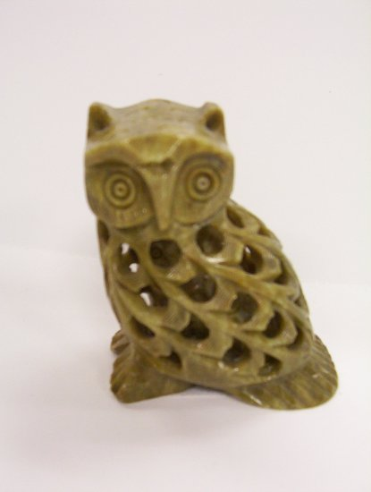 "3"" Stone Carved Owl with baby"