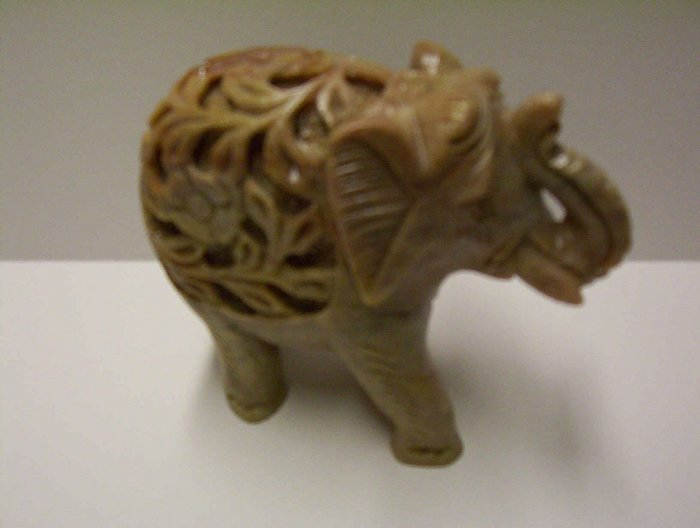 "Large 6"" Stone Carved Elephant"