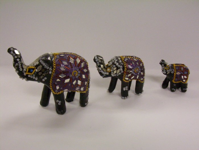 Set of 3 Glass Beaded Wooden Elephant