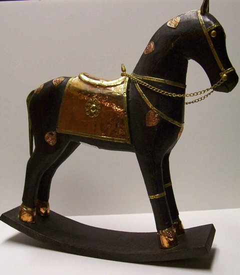 "12"" Black Wooden Rocker Horse"