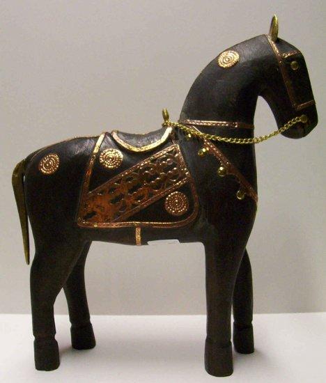 """12"""" Black Wooden Still Horse"""