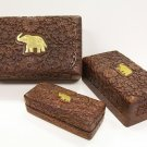 Set of 3 Carved Wooden Jewelry Box with Embossed Elephant