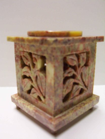 Soap Stone Oil Burner - Leaves & door with hinges