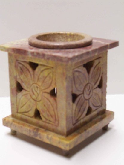 Soap Stone Oil Burner - Flower & door with hinges