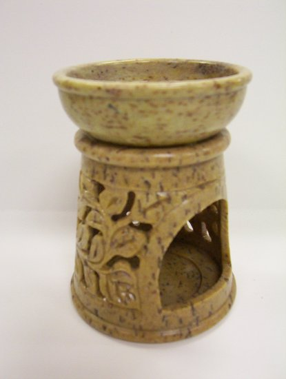 Soap Stone Oil Burner - Round Column Shaped