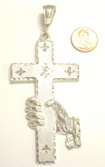 Sterling Silver Mens Cross with Hand