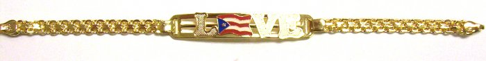Gold Filled Women's Bracelet - Puerto Rico Flag