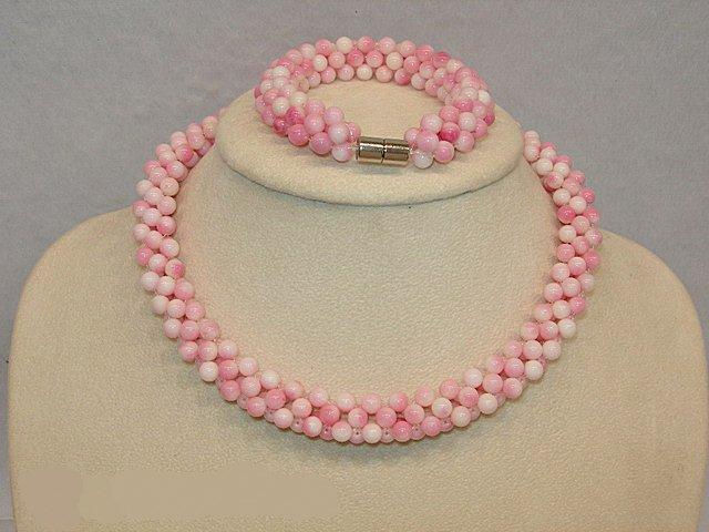 Pink Coral Necklace and Bracelet Set