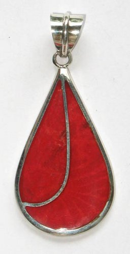 92.5 Sterling Silver Pendant with Red Coral