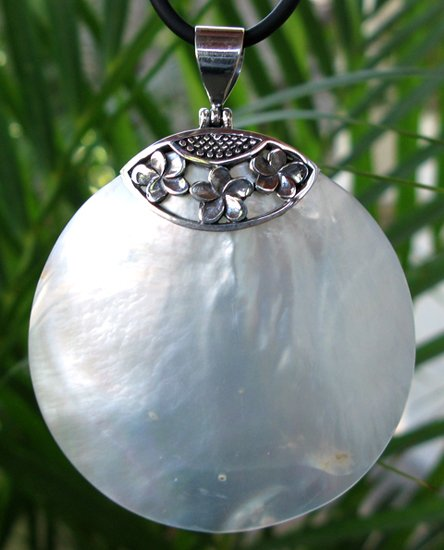 MOP Round Sterling Silver Pendant