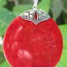 Red Coral Round Sterling Silver Pendant