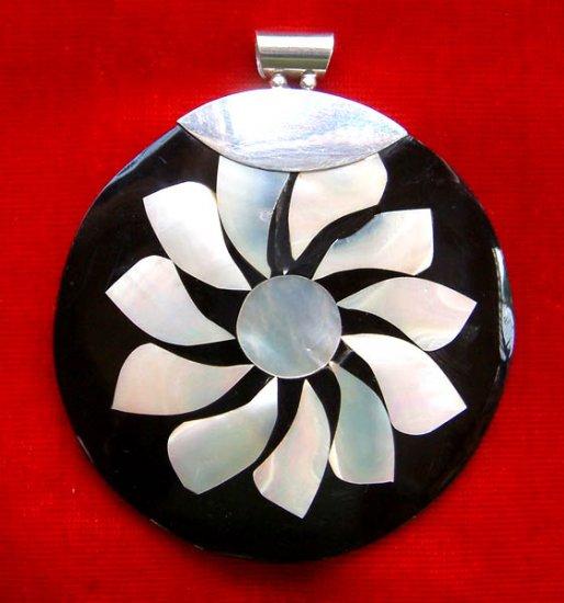 Onyx Flower Sterling Silver Pendant