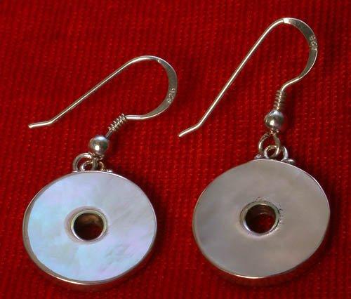 MOP Round Sterling Silver Earrings