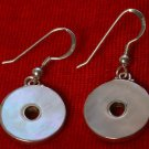 MOP Round Sterling Silver Earrings