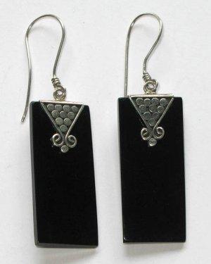 Onyx Rectangular Sterling Silver Earrings