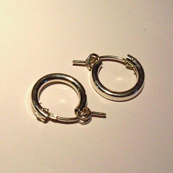 1 cm Sterling Silver Hoop Earrings-Round with better hook